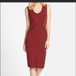 NWT NYDJ Cecilia Jacquard Red Black Sweater Dress